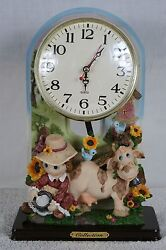 COLLECTION GIRL AND COW TABLE MANTLE CLOCK