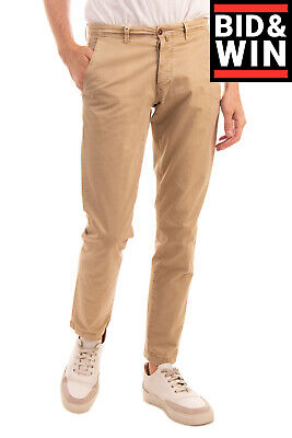 BRIGLIA 1949 Chino Trousers Size 31 Stretch Garment Dye Worn Look Made in Italy