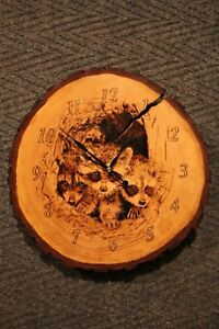 Rustic wood clock raccoons woodburning pyrography