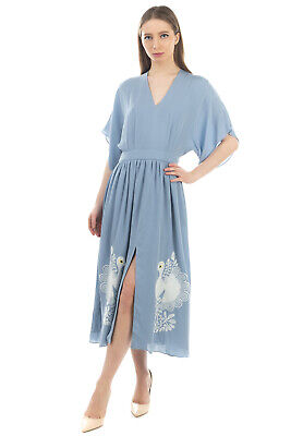 RRP €595 PAUL & JOE Silk Midi A-Line Dress Size 36 / XS Embroidered Birds V Neck