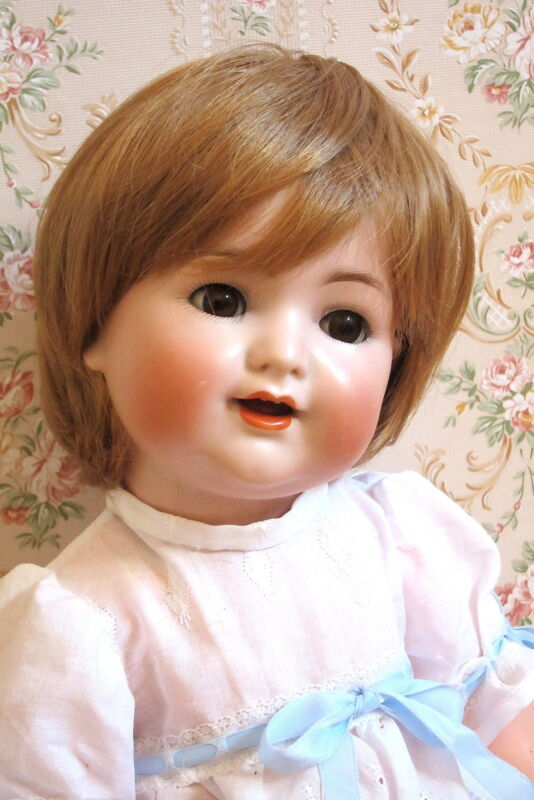 """perruque blonde POUPON-tête26/27cm-poupée ancienne-moderne-doll wig head sz10.5"""""""