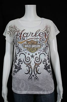 Misses Insignificant Harley Davidson Adam Smith's Texoma Sherman Texas White Lace Shirt