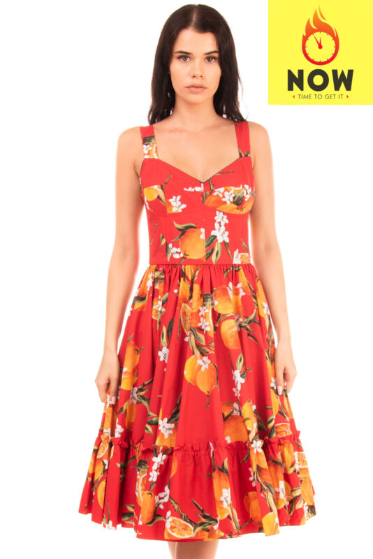 RRP €2130 DOLCE & GABBANA Fit & Flare Dress Size IT 42 / S  Oranges Print Ruffle