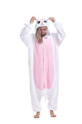 Sqlszt Women men Adult Unisex Kigurumi White Cat Onesie0 Pajama Cosplay Costume - Adult Cat Onesie