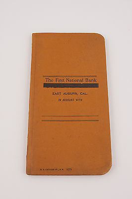 First National Bank Book Auburn Ca Overland Leather Cover Printed by Crocker