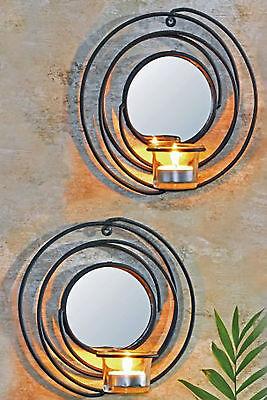 Teelicht Spiegel (Dekoratives 2er Set Wandkerzenhalter für Teelichter aus Metall Rund mit Spiegel)