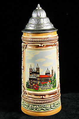 Souvenir Stein - German Pewter Lidded Beer Stein ~ Worms / Rhein Souvenir Original Gerzit