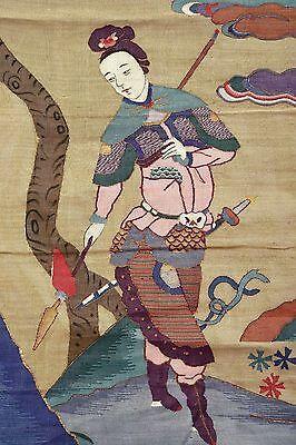 19C Chinese Kesi Kossu Silk Embroidery Panel Textile Tapestry Lady Warrior 95CM