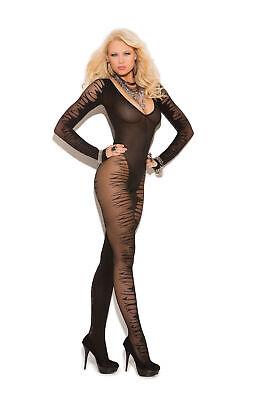 Langarm Catsuit offen schwarz neu Damen Bodysuit Teddy Transparentes Muster