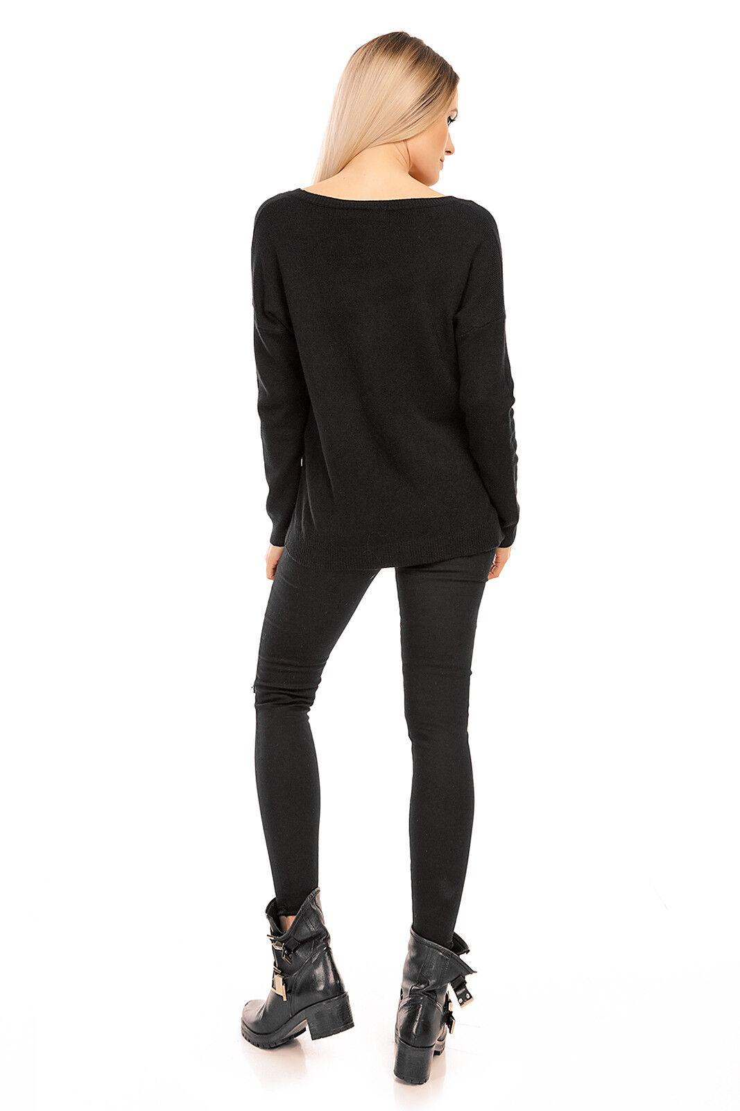 Pullover Sweater Feinstrick Cardigan Jacke Pulli Shirt Jumper Longpullover