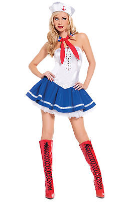 Baby Blue Sailor Girl Sexy Sails Away Honey Womens Halloween Party Costume