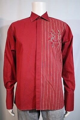 Franco Ferrara Men's LARGE MEDIUM Red Tan Floral Stripe French Cuff Button Shirt