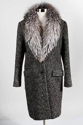 Theory Gray Wool Blend Women's Faux Fur Shawl Collar Long Sleeve Overcoat Sz M