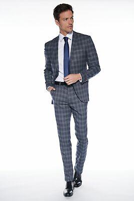 Anzug Slim-Fit kariert Business Suit Karo Zweiteiler Casual (Karierten Anzug)