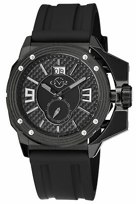 Grande Date Watch - GV2 by Gevril Men's 9401 Grande Black Dial Black IP Steel Date Silicone Watch
