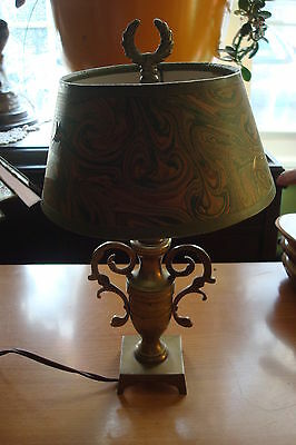 Table lamp  Mid Century, bronze and paper shade. Shade is green