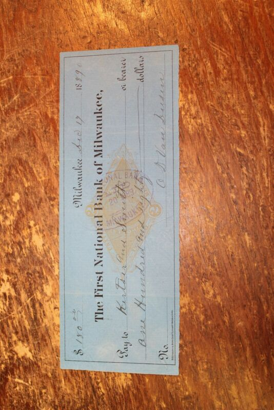 BANK CHECK FIRST NATIONAL BANK OF MILWAUKEE WISCONSIN 1889