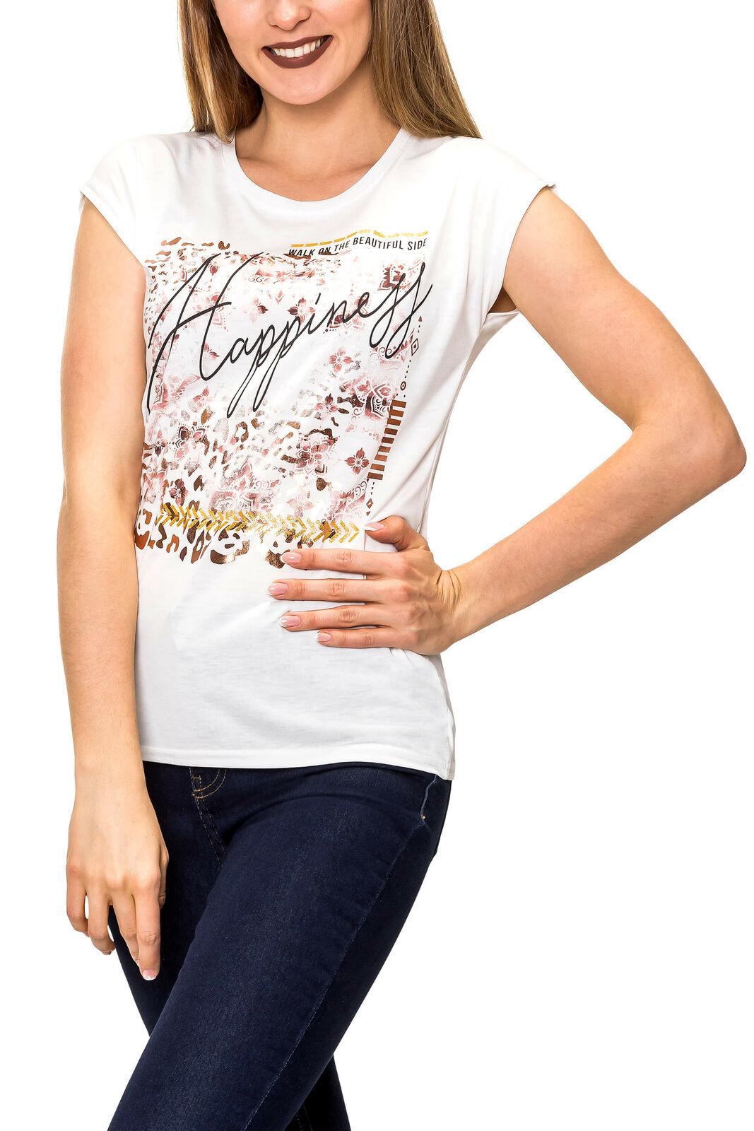 Hailys Damen T-Shirt Print Shirt Kurzarmshirt Stretch Jersey Cute Summer Top