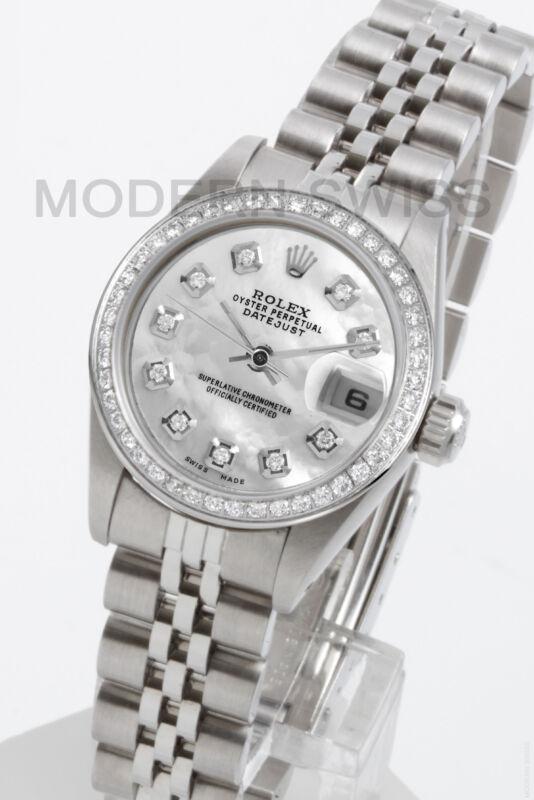 Rolex Ladies Datejust Steel White Mop Diamond Dial & Bezel Jubilee Quickset