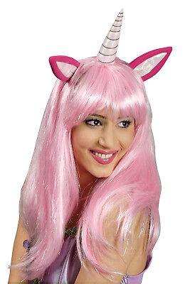 Einhorn Perücke mit Ohren und Horn rosa, Langhaar für Damen Mädchen Kostüm - Mit Rosa Haaren Kostüm