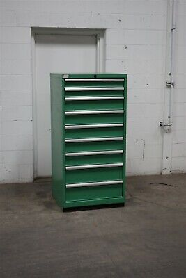 Used Lista 9 Drawer Cabinet Industrial Tool Parts Storage 2193 Stanley Vidmar
