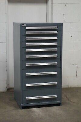 Used Stanley Vidmar 10 Drawer Cabinet Industrial Tool Storage 2173 Gray