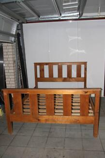 Queen Size Wood Bed( Miners Den), very good condition
