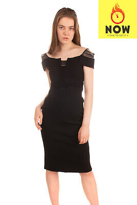 RRP€2115 ROLAND MOURET LIMITED EDITION Pencil Dress Size XS Stretch Tulle Insert