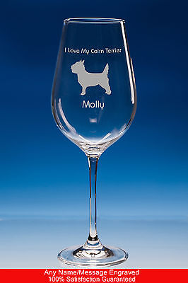 Cairn Terrier Dog Gift Personalised Engraved Fine Quality Wine Glass
