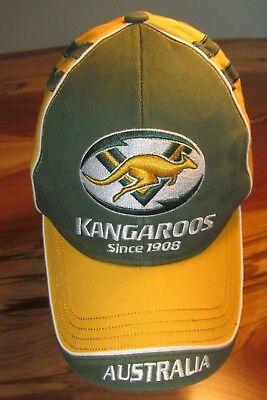 Australia Kangaroos Rugby Men's Baseball Cap, Hat, Green, Yellow, Strapback, EUC
