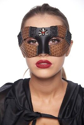 Black Faux Leather Cowboy Inspired Steam Punk Victorian Costume Unisex Mask Prop