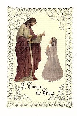 Vintage Catholic First Communion Girl Holy Card with Lace Edges In Spanish