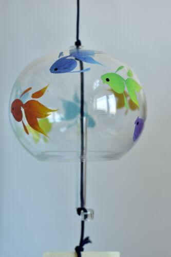 Japanese Handmade Glass Wind Bell Edo Furin : design Various Colors Goldfish