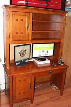 Solid Oak Wooden Computer Desk with Hutch Warriewood Pittwater Area Preview