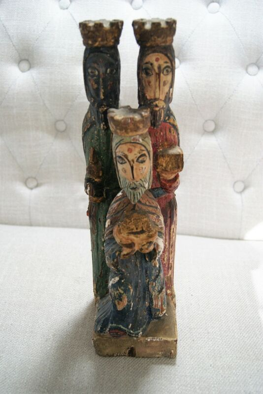 "Antique Vintage Carved Hand Painted Wood Three Kings Wisemen Nativity 13"" Tall"