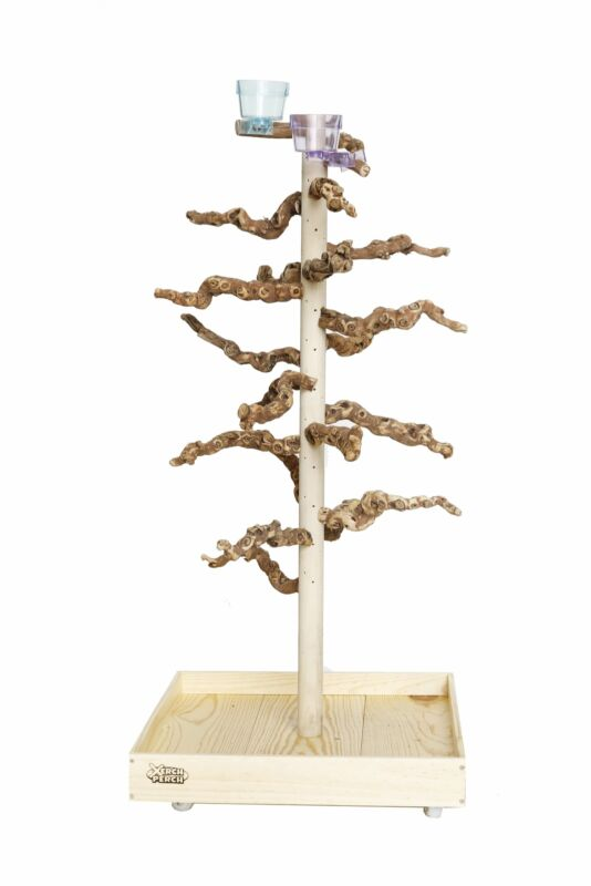 Natural Wood Parrot Stand Perch | Ultimate, Large, Grape Wood