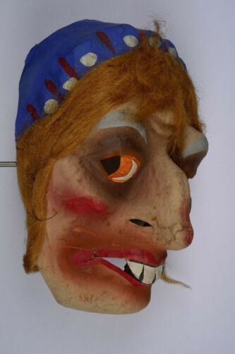Antique Vintage WITCH Halloween Costume Mask Hand Painted Marked GERMANY 1930