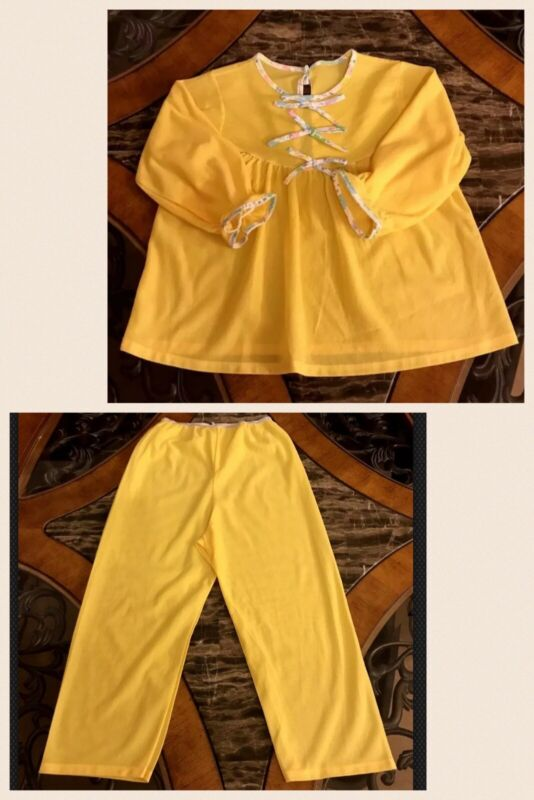 Vintage Girls Pajamas Yellow Long Sleeve Top & Pants Polyester NEW 1980s Sz 6