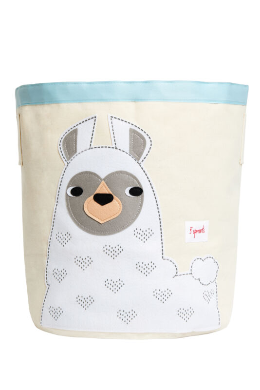 3 Sprouts Canvas Storage Bin - Laundry and Toy Basket for Baby and Kids, Llama