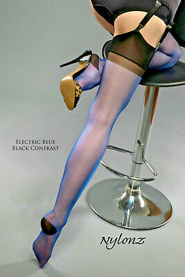 GIO RHT Stockings / Nylons - Electric Blue / Black Contrast - imperfects NYLONZ