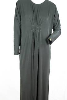 Long Black Stretch Abaya with decorative gemstone and gathering
