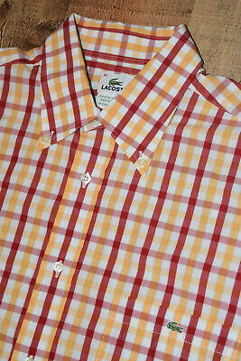 LACOSTE Long Sleeve Button Front Shirt Red Orange Checks Size 42 Large EUC