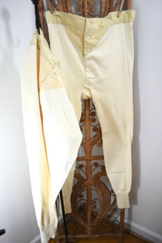 50s VTG ~ DEADSTOCK ~ 2 Pair Hanes Button Front Long Underwear ~ 44 ~ Workwear