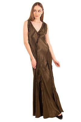 RRP €915 LANVIN Satin Evening Dress Size 38 / M Distressed V Neck Made in France