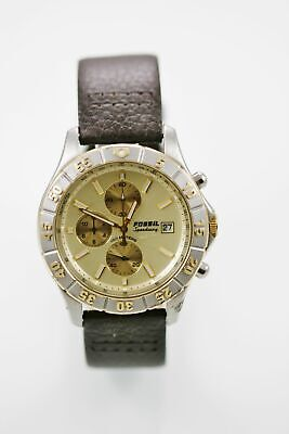 Fossil Watch Mens Chro Date Stainless Silver Gold Leather Brown 100m Quartz