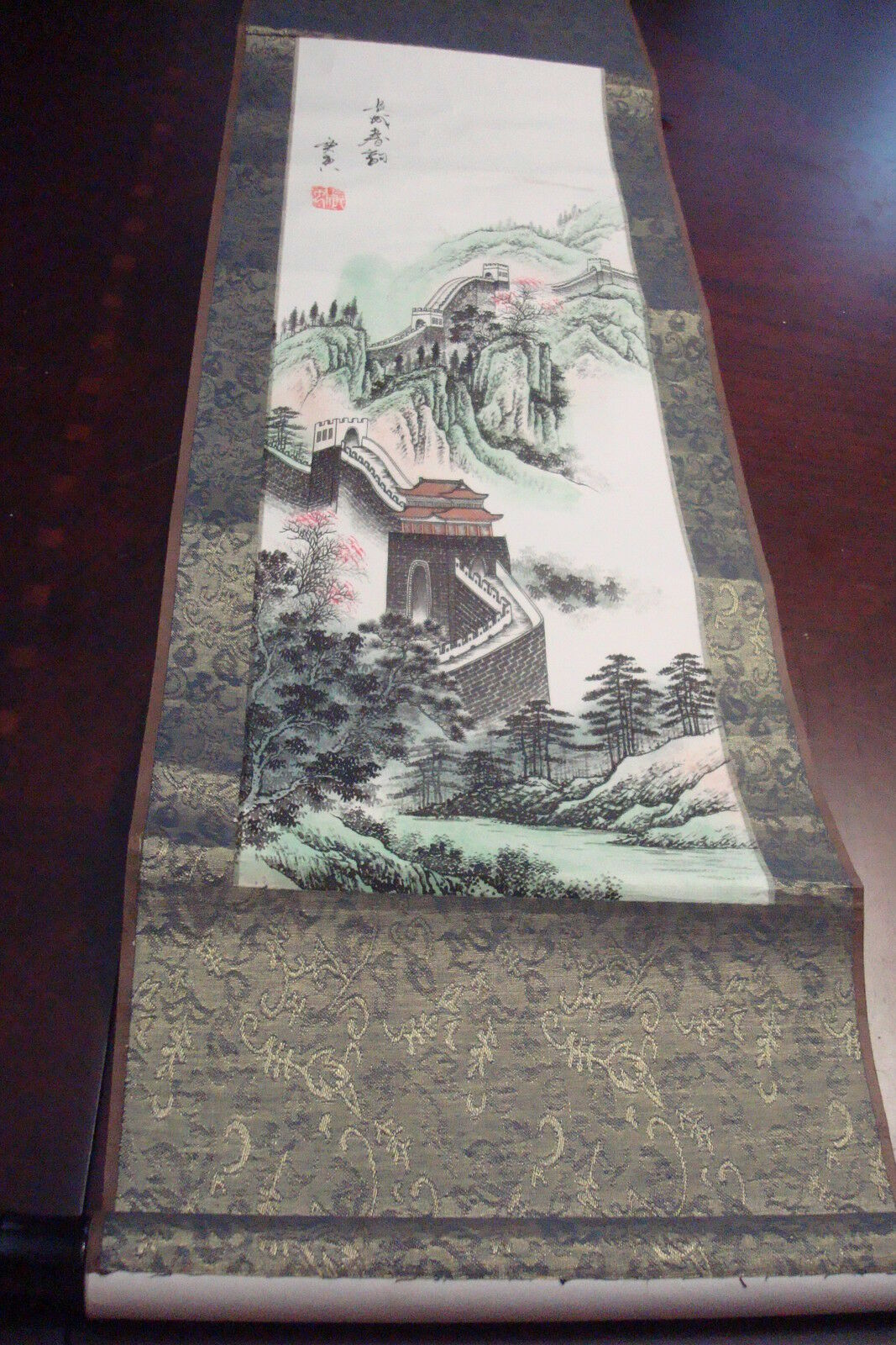 Chinese Hanging Vertial Scroll Stamped The Great Wall Of Chinabookshelf