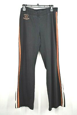 Harley Davidson Womens Black Stretch Waist Orange Strip Lounge Pants Medium