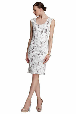 Rachel Roy White Skull Bird Print Cocktail Sheath Dress 8