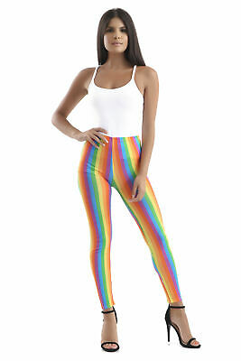 Pride Parade Outfits (Ladies Girl Rainbow Striped Neon Leggings Clown Gay Pride Parade Carnival)