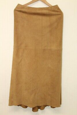 Elements By Vakko Womens 2 Tan Suede Leather Long Line Skirt